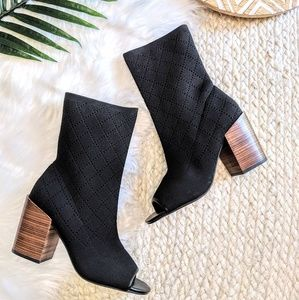 Kelsi Dagger Macey Knit Peep Toe Boots